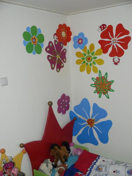bloemen muurschildering