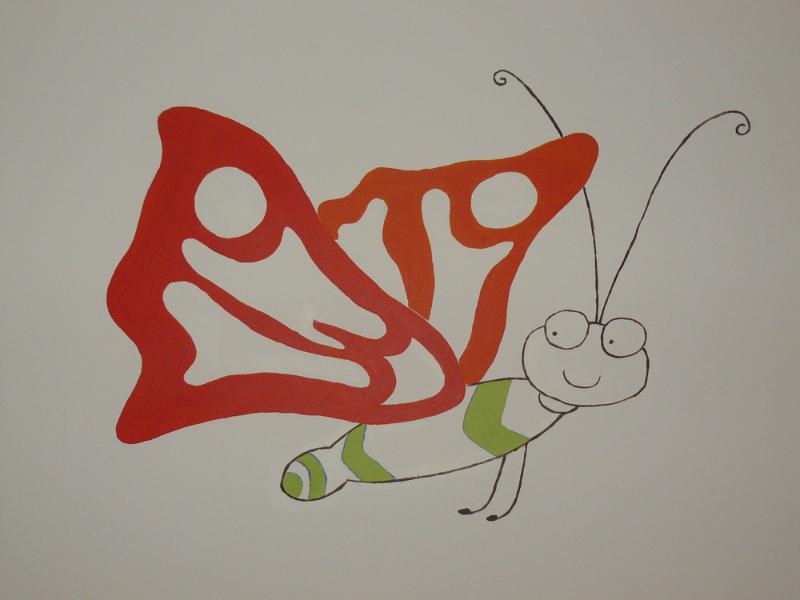 vlinder muurschildering